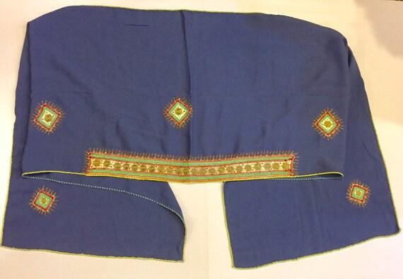 Vintage WIZO Yemenite Embroidered Shawl Scarf Wrap