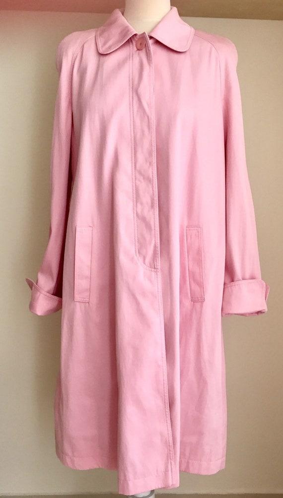 Vintage Escada trench coat pink cotton A shape lin