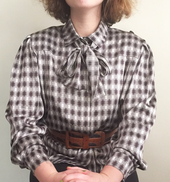 Vintage Louis Feraud blouse checked brown beige bo