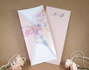 pale pink wedding invitation - fleur floral