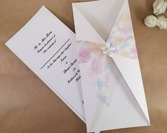 white/pink wedding invitation - fleur floral