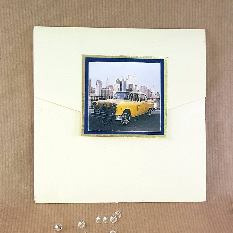 the best attitude 11800 ed4de New York yellow cab pocket wedding invitation navy trim