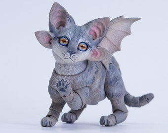 BJD #22 Four-eared winged kitten, 5 cm (tall), grey tabby coloring, 3 heads in the set