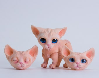 MJD #54 Seshat - magnet jointed doll - Sphynx cat, light pink coloration, 3 heads in the set