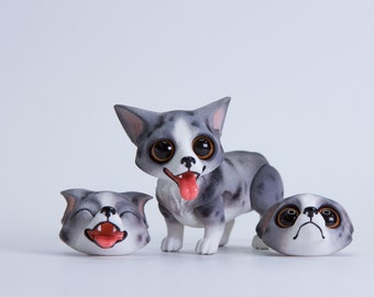 MJD #56 Donut the Corgi - magnet-jointed doll, blue coloration, long tail, comes with 3 changeable heads, 4 cm tall