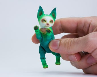 BJD #31 BJD Caracal kitten, 4 cm (in back), 3 heads in the set, custom color - green and white