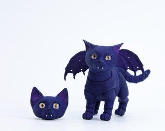 BJD #11 BJD winged kitten vampire, 4 cm, 2 heads in the set, dark-blue color.