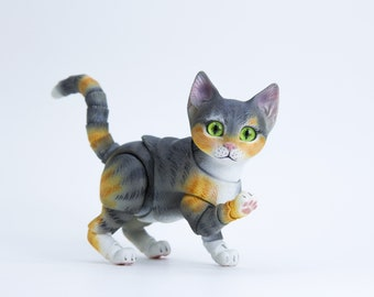 BJD #2  -7 cm BJD kitten. Ball jointed kitty doll comes with 4 heads in the set, coloring grey-red.