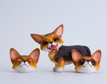 MJD #59  Pancake the Corgi - tricolor coloration, long tail, magnet-jointed doll, comes with 3 changeable heads, 4 cm tall