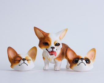 MJD #55  Pancake the Corgi - magnet-jointed doll, sable coloration, comes with 3 changeable heads, 4 cm tall