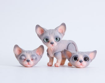 MJD #53 Seshat - the magnetic kitty doll - hairless breed cat, grey and pink coloration, 3 heads in the set