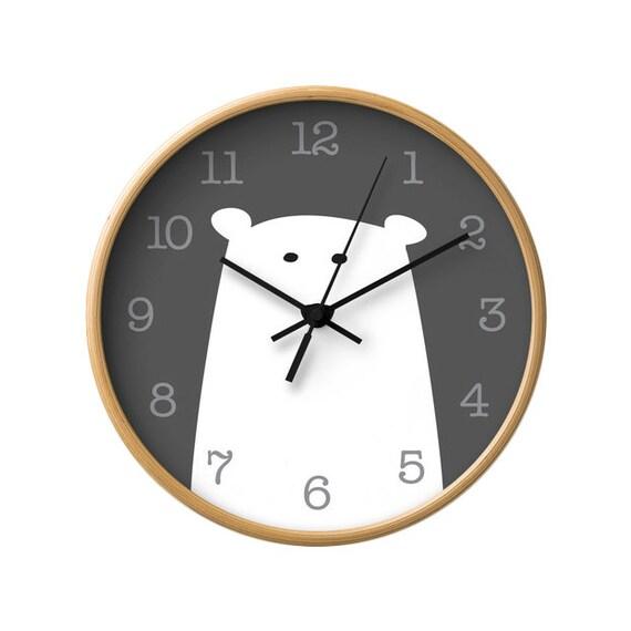 Kinderzimmer Uhr | Eisbar Kinderzimmer Wanduhr Eisbar Wanduhr Eisbar Uhr Etsy