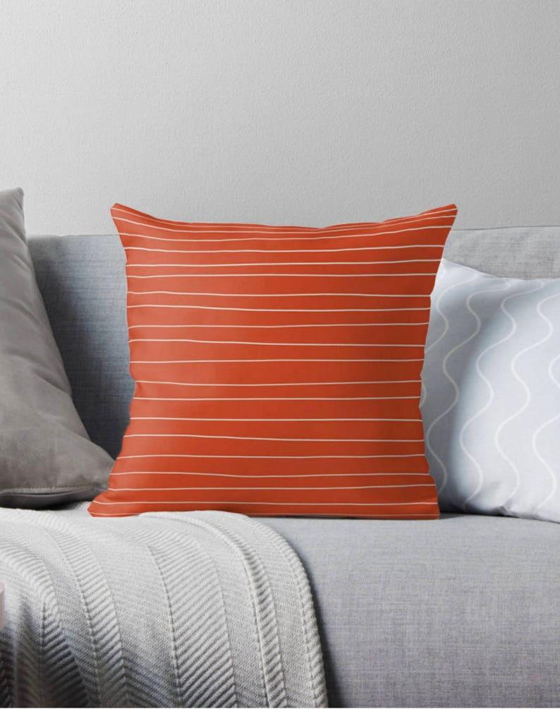 Burnt Orange pillow handmade lines orange stripes cushion dark orange pillow terracotta pillow orange cushion orange stripes pillow