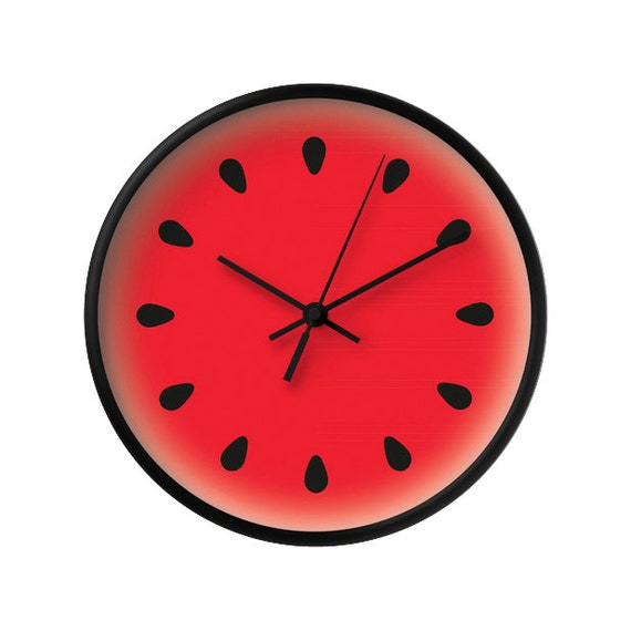 Watermelon clock Watermelon wall clock fruit clock red clock red kitchen  wall clock red wall clock red kitchen clock fruit clock