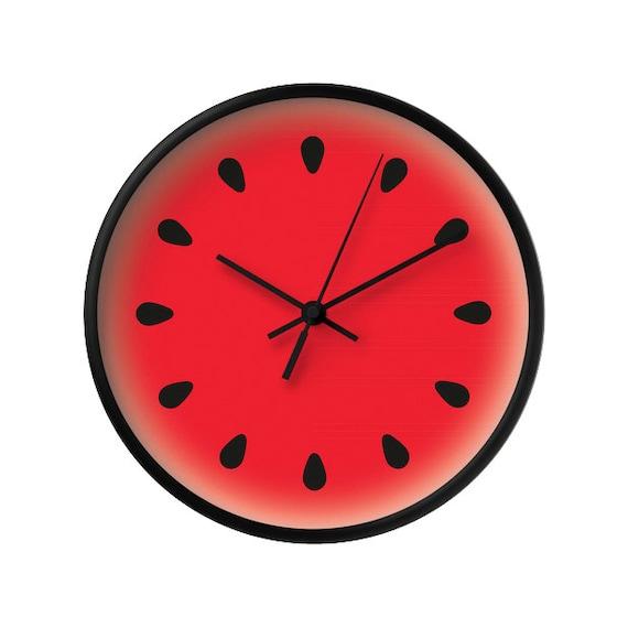 Horloge De Pastèque Fruit De Melon Deau Murale Horloge Etsy