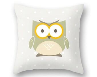Owl pillow cover. Light cream Nursery pillow Nursery owl decor baby owl decor cream nursery pillow cream Nursery cushion owl cushion