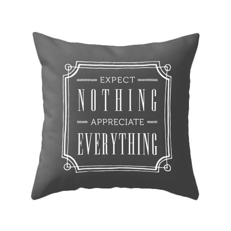 Expect nothing appreciate everything throw pillow quote pillow quote throw pillow typography pillow cushion blue pillow quote cushion