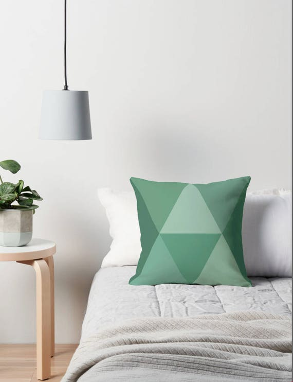 Emerald green pillow Green Geometric throw pillow green Mid century pillow emerald green nordic cushion geometric cushion geometric pillow