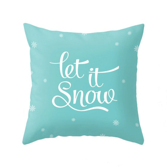 Let It Snow Pillow Turquoise Pillow Teal Christmas Pillow Etsy