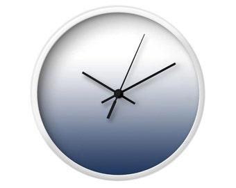 Indigo Blue gradient wall clock Indigo Blue clock blue ombre clock Blue wall clock Indigo wall clock indigo ombre clock Latte Home