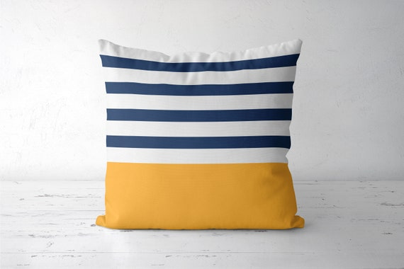 Nautical pillow. Nautical decor. Navy