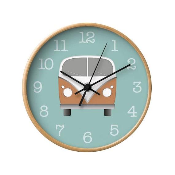 High Quality Blue Kids Room Clock Retro Camper Van Clock Light Blue Nursery | Etsy