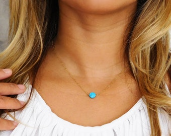 Dainty Turquoise Teardrop Necklace Gold Framed Turquoise Turquoise Jewelry Gold Simple Turquoise Pendant Dainty Gold Turquoise Necklace