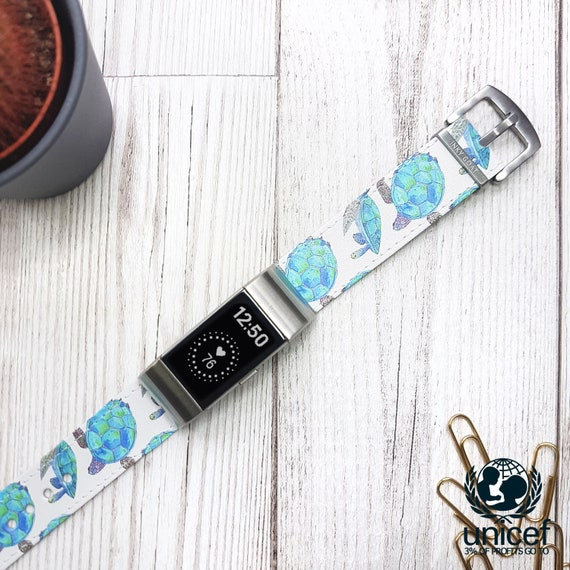 Compatible with Fitbit Charge 2 Leather Wristband Bracelet Replacement Accessory Band Includes Adapters - Christmas Cookies Watercolour