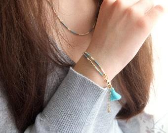 Boho style bracelet, handmade with japanese glass beads Miyuki, 24k gold plated findings, thin and delicate bracelet