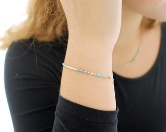 Boho bracelet, fine chain, various colors, golden champagne 24k, yarn pompom, minimalist, colorful, miyuki pearls,
