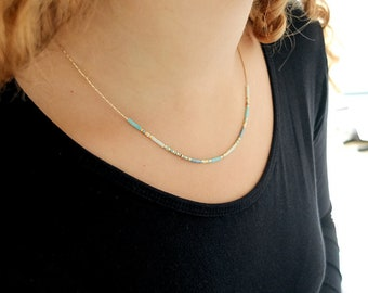 Fine chain necklace, Miyuki Japanese glass beads, 24-carat fine gold gold, minimalist necklace, delicate jewel, gift for her