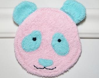 Pink/Aqua Panda: Washcloth Animal / Baby Bath Toy / Terrycloth Teether Natural Teething Toy / Panda Bear Baby Shower Gift / Kids Wash cloths
