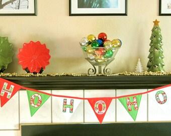 Christmas Garland / Ho! Ho! Ho! Xmas Banner / Fabric Holiday Bunting / Red Green Pennant Banner / Christmas Decor Decoration / Xmas Flags