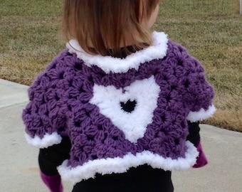 "Valentines Sweater / Toddler Girls 3/4T ""Sweetheart"" Cardi Shrug Bolero / Crochet Cardigan Gift for Kids / Fuzzy Faux Fur Purple White Heart"