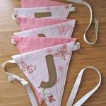 Pink, Gray, Aqua: Custom Baby Bunting with Name Applique / Fabric Name Banner / Personalized Nursery Bunting / Nursery Decor / Name Garland