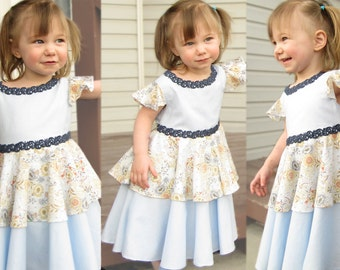 Anemone: Toddler Girls Dress / Blue Floral Toddler Dress Birthday Easter Dress / Boho Flower Girl Dress Size 2T 3T 4T 5T / Couture Heirloom