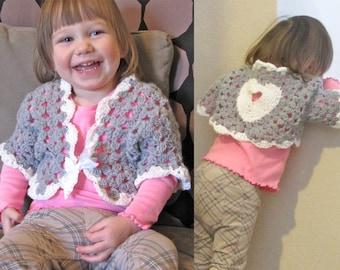 "Valentines Heart Sweater / 2T ""Sweetheart"" Shrug / Crochet Baby Toddler Cardigan / Little Girl Bolero Cardi / White Gray Heart READY TO SHIP"
