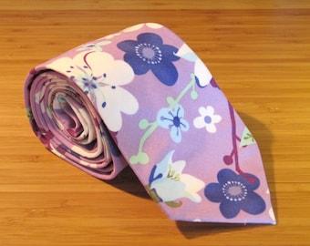 Lavender Floral Tie / Purple Necktie / Hand Sewn Tie / Mens Necktie / Custom Necktie / Wedding Tie / Groomsmen Tie / Fun Tie READY-TO-SHIP