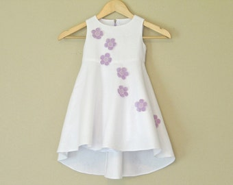 White Flower Girl Dress / 2T 3T 4T / One-of-a-Kind Sleeveless Toddler Dress / Floral Purple Lavender Flowers / Couture Heirloom Easter