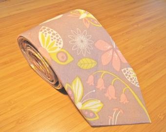 Gray Pink Floral Tie / Fathers Day Tie / Hand Sewn Necktie / Handmade Tie Mens Necktie / Butterfly Tie / Wedding Tie Groomsmen Tie Groom Tie