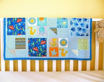 Fish Baby Blanket / Sea Blue Baby Blanket / Modern Baby Quilt / Nautical Nursery Decor / Baby Boy Quilt / Tummy Time Mat / Ocean Nursery Art