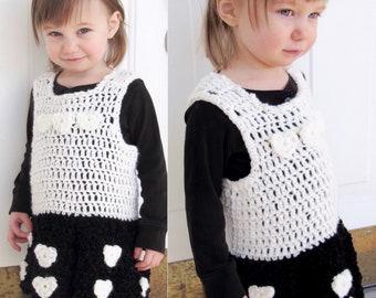 2/3T Monochrome Toddler Girl Sweater Dress Valentines Day / Baby Little Girls Hand Crocheted Jumper Tunic Minidress Black & White Winter