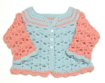 0-6 Month Crochet Baby Sweater / Crochet Baby Cardigan / Baby Girl Sweater / Blue and Pink Sweater / Color Block Baby Sweater -READY TO SHIP