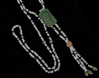 Vintage Egyptian Revival Czech bead necklace. (nlbd1226)