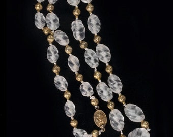 Carved quartz crystal beads and 18k gold vermeil bead necklace. nlbd1137