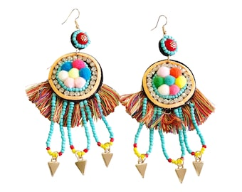 b4ad1d9d7ba980 Azure Beaded Statement Fringe Earrings