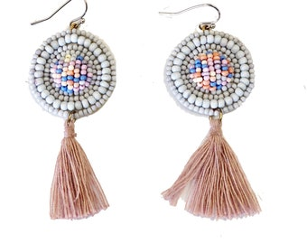 c230c0e0efda4f Aubrey Beaded Tassel Disc Drop Earrings
