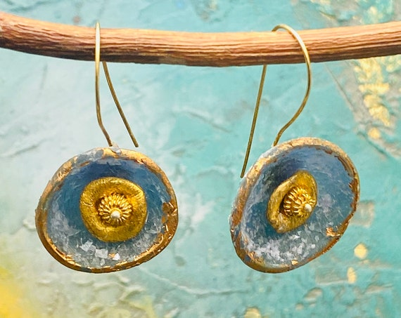 Polymer Clay Diamond Dust Earrings, Glass Vermeil Gold Over Silver Hogs, Minimal Dangle Earrings, Gift for Her