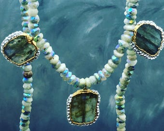 Pave labradorite necklace, Flashy Labradorite, pave gemstones, iridescent aquamarine, Aquamarine jewelry, blue gems, handmade jewelry