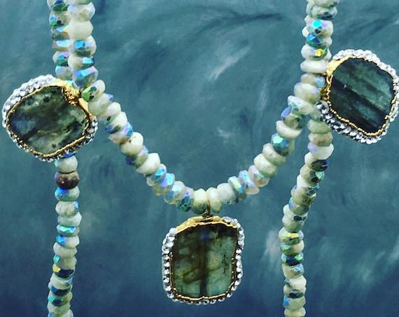 Pave labradorite necklace, Flashy Labradorite, pave gemstones, iridescent aquamarine, Aquamarine jewelry, blue gems, handmade jewelry